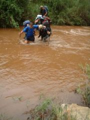 River crossing after heavy rains