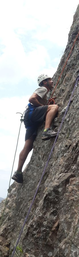 Client on rock climb